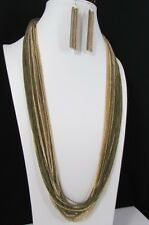 New Women Extra Long Fashion Black Necklace Earring Set Chains Gold / Silver