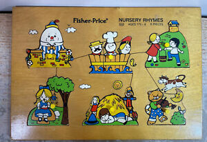Vintage 1979 Fisher Price Quaker Oats Nursery Rhymes Wooden Puzzle  #510