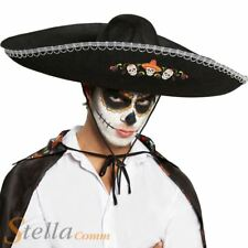 Day of The Dead Sombrero Fancy Dress Hat Mexican Halloween Accessory Adult