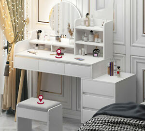 New White Dressing Table Jewelry Makeup Desk w/ Mirror & Drawer 3 Styles Bedroom