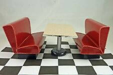 Dollhouse Miniature Artisan 1950's Style Red Diner Booth Benches & Table