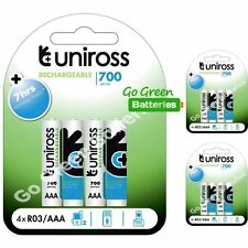 12x Uniross AAA 700 mAh Rechargeable Batteries NiMH ACCU LR03 HR03 DC2400 Phone