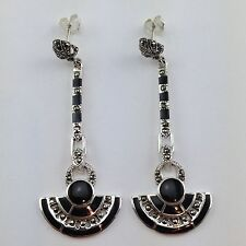 STUNNING ART DECO STYLE BLACK ONYX MARCASITE DROP EARRINGS 925 STERLING SILVER