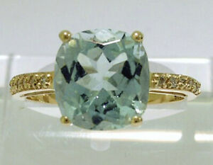 R193 Genuine 9K White or Yellow Gold Natural  Aquamarine Diamond Engagement Ring