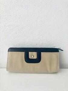 NEW Liz Claiborne Wallet Purse Credit Cards Phone Canvas/Brown Leather 9.5 x 4.5