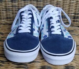 VANS Old Skool 500714 Skate SHOES Sky BLUE Navy Cream Checkerd 9 Woman 7.5 Men