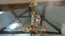 Bronze Vintage French Chandelier Crystal Detailing 4 Arm Light Fittings Pendant