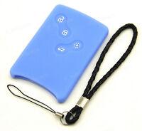 Blue Silicone Case For Renault Laguna Koleos Megane Remote Key Card 3 4 Buttons