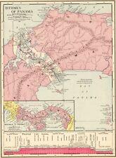 1914 Antique PANAMA CANAL Map Vintage Isthmus Of Panama Map Original 8059
