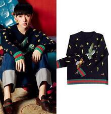 womens Bee bird embroidery soft wool sweater loose sweater jumper short sweater