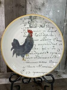 """Williams Sonoma Salad Plate Rooster with French Script 9"""" Made in Italy"""