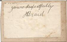 James Braid Cut Signature Full JSA Letter of Authenticity - Golf