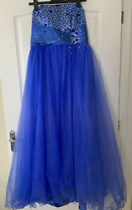Bingbing Blue/Silver Embellished Maxi Formal Dress Bridesmaid Prom Size 16 NEW