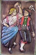 53cm x 35cm grosse Wandkeramik - Thun  Bozen Italien - tanzendes Trachtenpaar