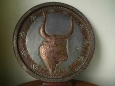 Antique Copper Metal Wall Plaque Relief Engraved Nandi Bull Bust