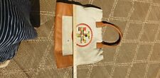 Tory Burch Ella Embroidered Hand Tote Bag Natural Canvas Leather Handles