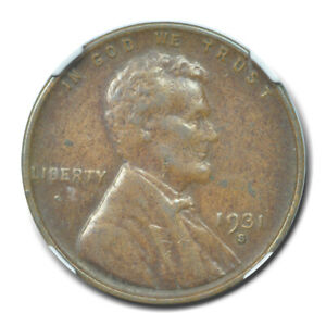 1931-S Wheat Reverse Lincoln Cent 1C NGC XF40BN