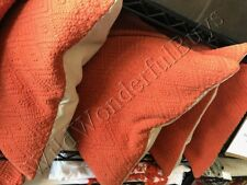 """Pottery Barn Washed Diamond Pillow Cover Burnt Coral 20"""" Orange New"""