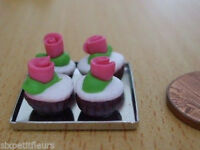 Miniature 4 choc rose cupcakes on metal tray 1:12th dolls house food bakery cafe