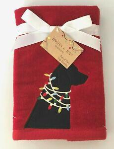 Black Lab Christmas Lights Set of 2 Hand or Fingertip Towels RED Embroidered Dog