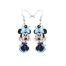 Acrylic Printed Minnie Mouse Cartoon Statement Silver Drop Earrings in Blue