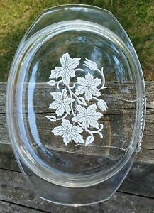 """Vintage Pyrex France replacement lid etched white flowers 10-1/4"""" x 8-1/4"""""""