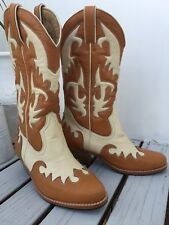 womens tan and white tall cow boy boots size 38