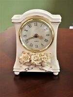 Avon Winter Rose White Ceramic Clock Vintage