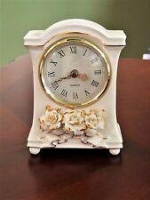 Avon Winter Rose White Ceramic Clock Vintage