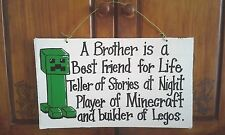 Brother best friend minecraft legos sign boys room decor 12x24 wood sign
