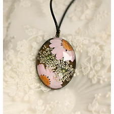 Real Pink Daisy Handmade Necklaces Pendants Dried Pressed Natural Fresh Flower
