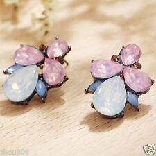 Long Ear Stud Hoop earrings 096 Wholesale 1pair Woman's Green Crystal Rhinestone