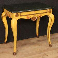 Tavolo laccato italiano salotto legno dipinto finto marmo mobile stile antico XX