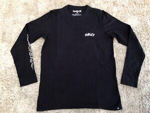 Boys Black Hurley Long Sleeve Top Tshirt Age 10-12 (size Medium)