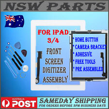 White Touch Screen Glass Digitizer Home Button Assembly 3rd Gen For iPad 3 / 4
