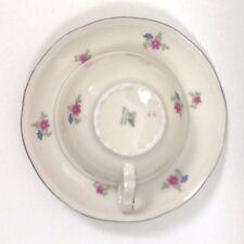 Antique EPIAG DF Czechoslovakia Floral Demitasse Cups Saucers Silver Rim Set Six