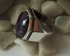 925 STERLING SILVER MEN'S JEWELRY FACATED PURPLE AMETHYST MENS RING