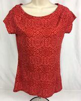 Lauren Ralph Lauren 100% Cotton Scoop Neck Short Sleeve Pattern TShirt Red Sz. M