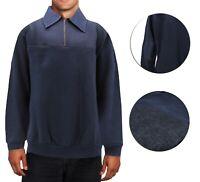 Men's Half Zip-Up Collared Sweatshirt Warm Lightweight Pullover Sweater