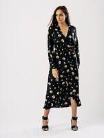 New Womens Black Floral Print V Neck Elastic Waist Frill Wrap Midi Maxi Dress