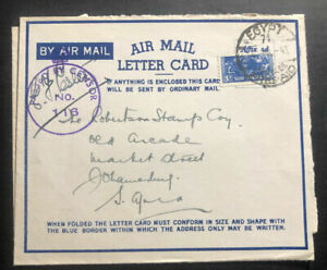 1943 South Africa MEF Army In Egypt Censored Air Letter Cover To Johannesburg