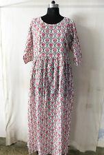 Side Button Long Dressing Hippie Block Printed Gown Women's Indian Wear Kurti 77