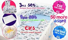 BABY BEDDING NURSERY SET FIT COT OR COT BED inc BUMPER+COVERS+MORE- CARS +more