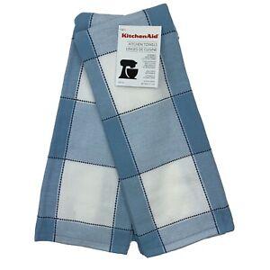 KitchenAid Kitchen Towels Set of 2 Towels Blue and White Plaid 100% Cotton