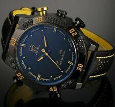 Men's 50mm Kitefin Shark Black Yellow LED Digital / Quartz Analog Leather Watch