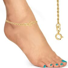 """10K Solid Yellow Gold Rope Chain Anklet Ankle Bracelet 10"""""""