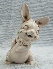 "Vintage 1982 Small 3-1/2"" Tall Home Ceramic Old Bunny Rabbit Figurine Free S/H"