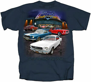 Mustang Showroom T-Shirt - Several Classic Ford Mustangs on This One! 1965-1970