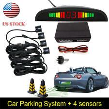 4 Sensors Car Reverse Backup Rear Buzzer Radar System Kit Sound Alarm Black