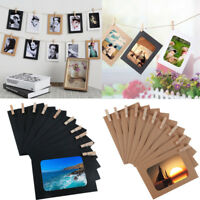 10x DIY Wall Hanging Kraft Paper Picture Photo Album Frame Rope Clips Home Decor
